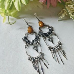 Caramel and silver earrings